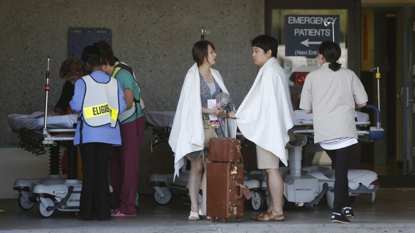 Passengers from Asiana Airlines Flight 214 are treated at San Francisco General Hospital.