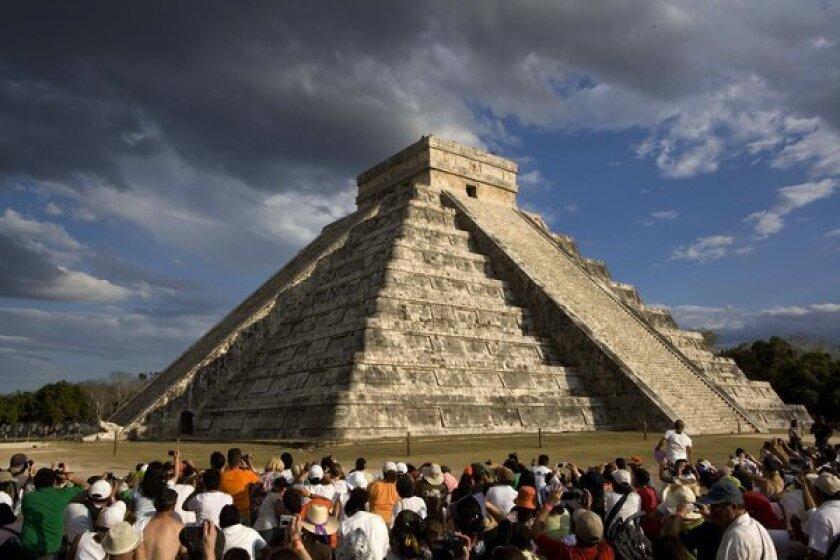 The Maya Kukulkan Pyramid in Chichen Itza, Mexico.