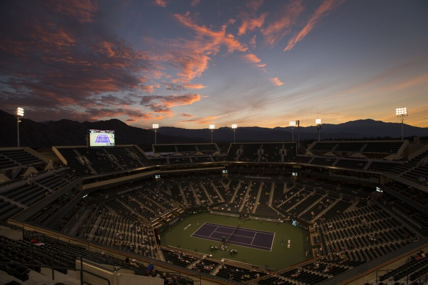 The Indian Wells Tennis Garden at sunset during the 2018 BNP Paribas Open.