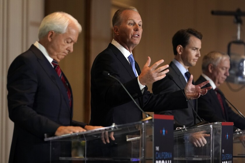 Republican candidates for California governor John Cox, left, Kevin Faulconer, Kevin Kiley and Doug Ose