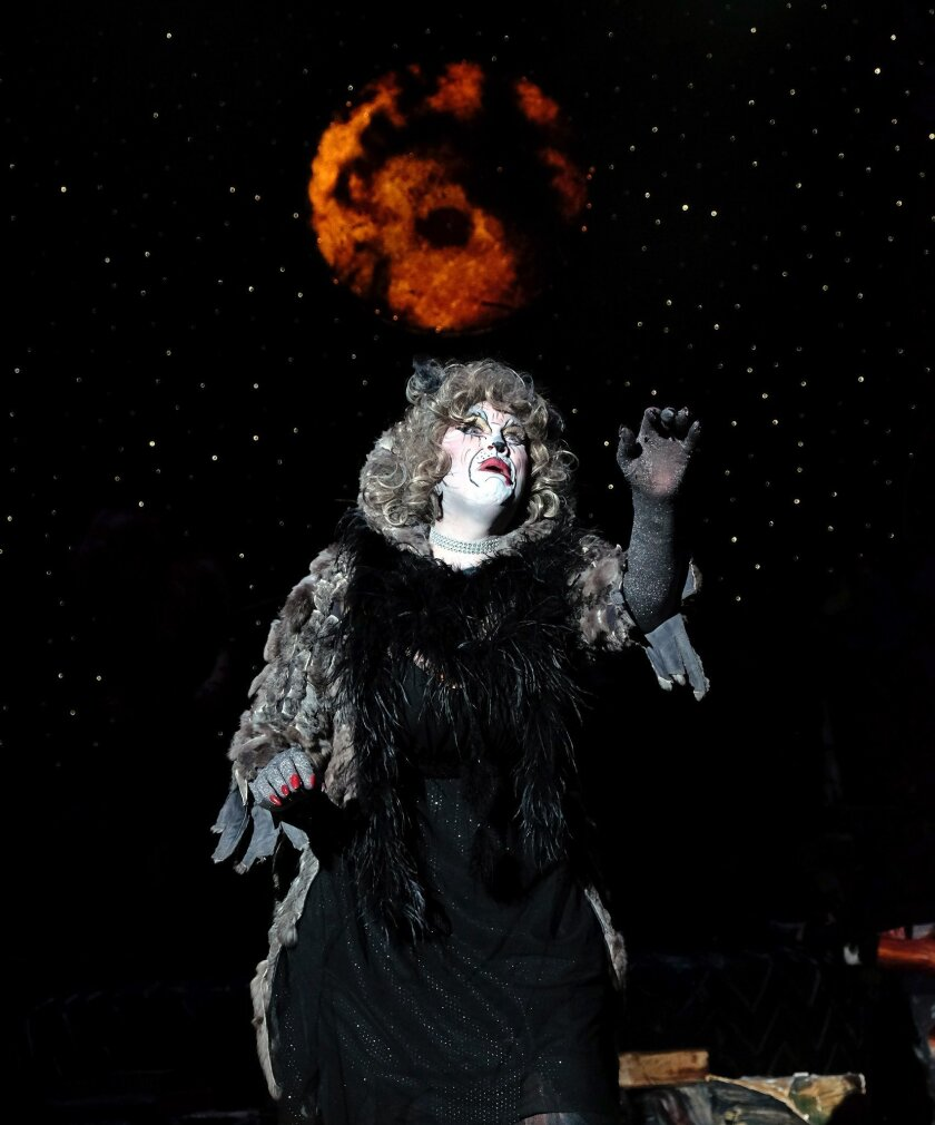 "Debbie Prutsman stars as Grizabella in San Diego Musical Theatre's ""Cats"" at the North Park Theatre."