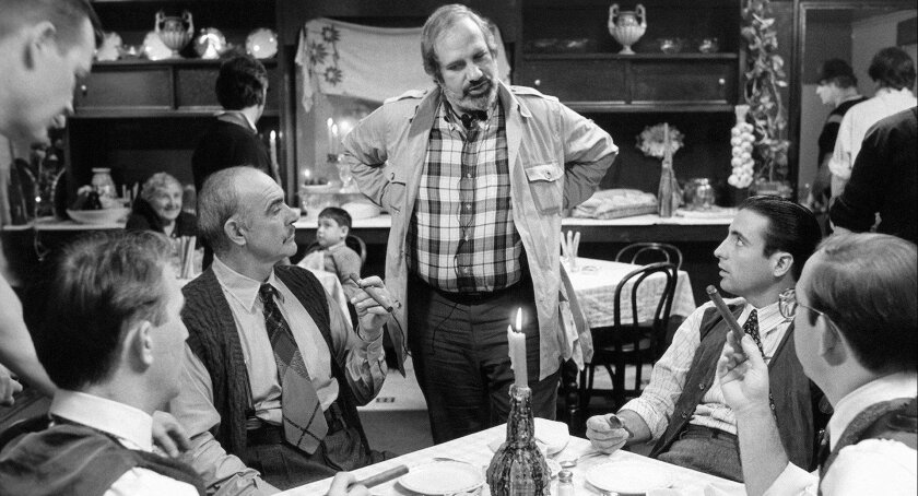 """From left, Sean Connery, Brian De Palma and Andy Garcia on the set of the 1987 film """"The Untouchables."""""""