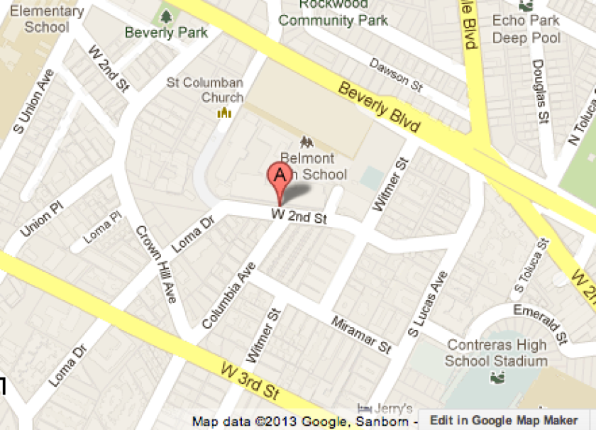 Map shows the location of Sal Castro Middle School, which was locked down Wednesday afternoon.