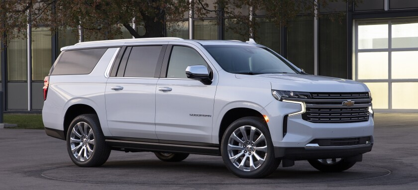 The redesigned 2021 Chevrolet Suburban and Tahoe, which will go on sale in summer, are longer and heavier, but Chevrolet hopes for an official 25-30 mpg highway rating for the diesel engine option.