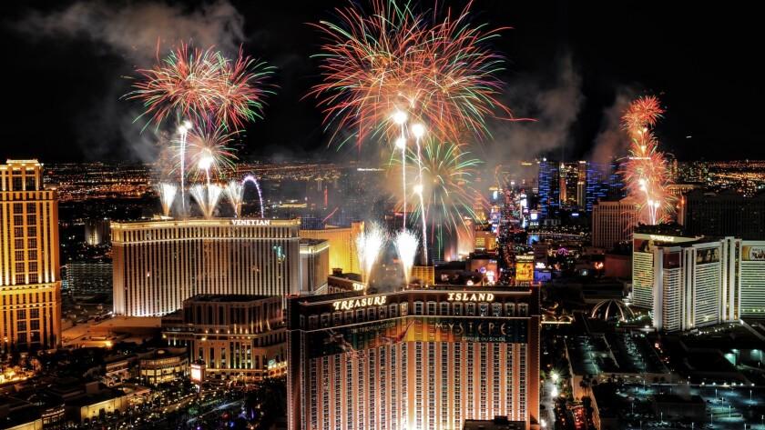 Fireworks light up the sky over the Las Vegas Strip on Jan. 1, 2016.