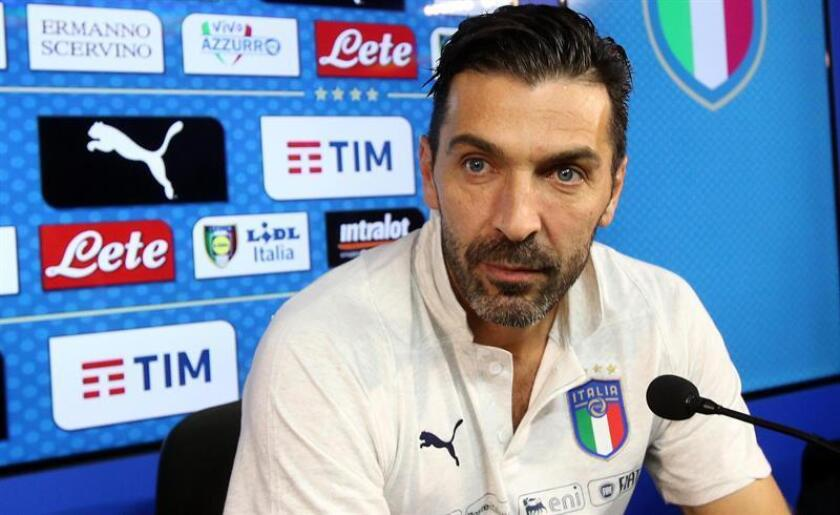 Italy's team captain Gianluigi Buffon attends a press conference in Appiano Gentile, Italy, 12 November 2017. Italy faces Sweden on 13 November 2017 in a FIFA World Cup 2018 play-off second leg soccer match. EFE