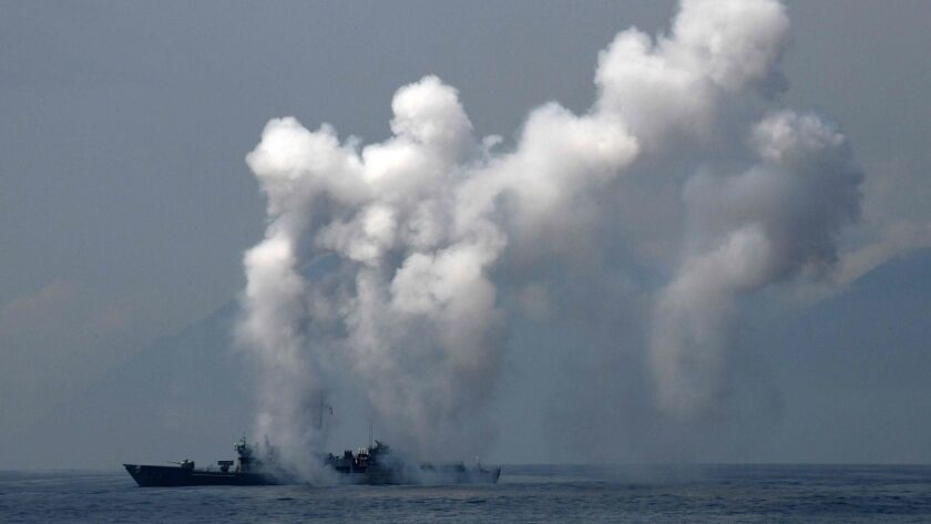 Before the live-fire military drills off the coast of China, Taiwan held its own military drill near the Suao navy harbor in Yilan, eastern Taiwan.