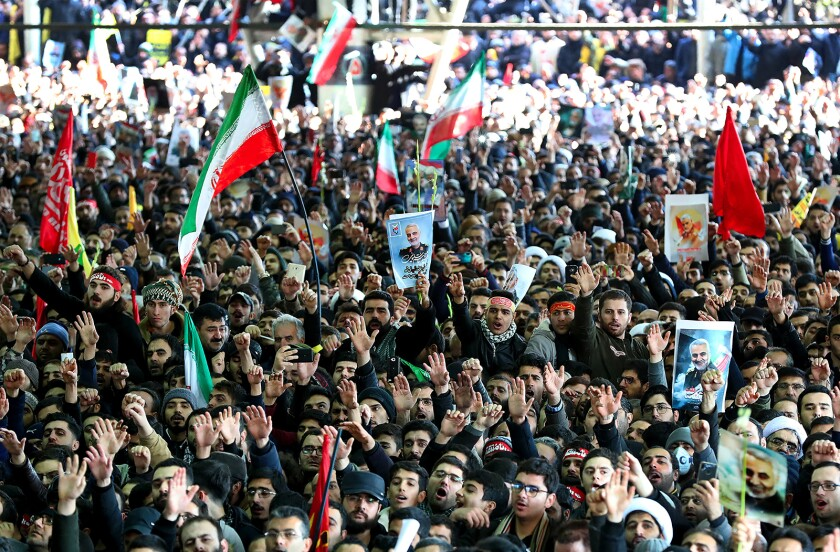 Mourners flood Tehran to honor Iranian general killed by U.S.  drone strike