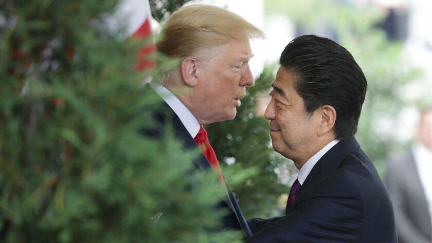 Japanese Prime Minister Shinzo Abe Arrives At The White House