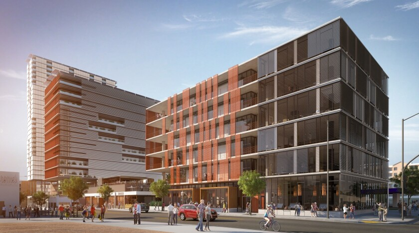 The Block D office building will feature red sunshades that move automatically with the weather.