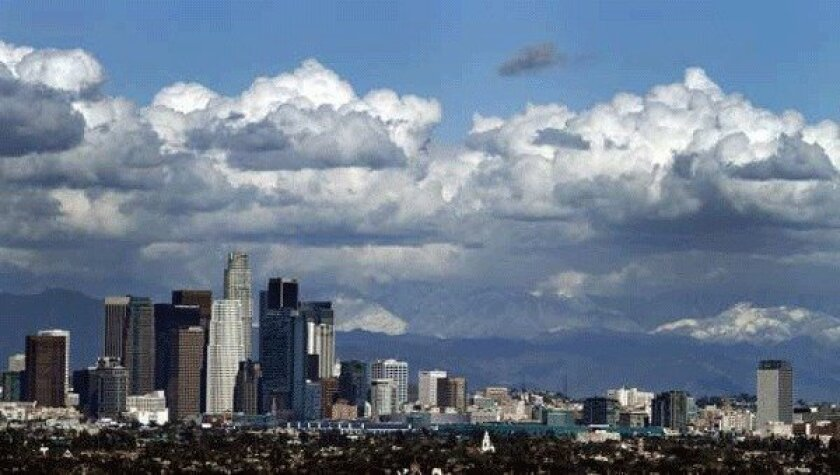 """Like the clouds approaching downtown Los Angeles, new """"cloud computing"""" services are on their way."""