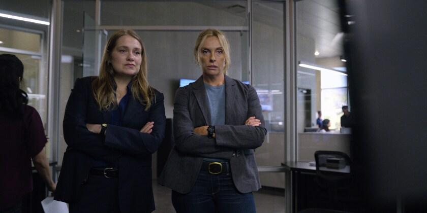 """Merritt Wever, left, and Toni Collette in a scene from Netflix's """"Unbelievable."""""""