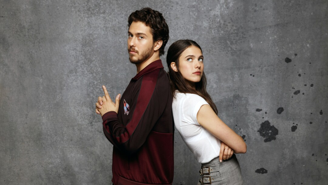 """Nat Wolff and Margaret Qualley, from the film """"Death Note,"""" photographed at Comic-Con 2017"""