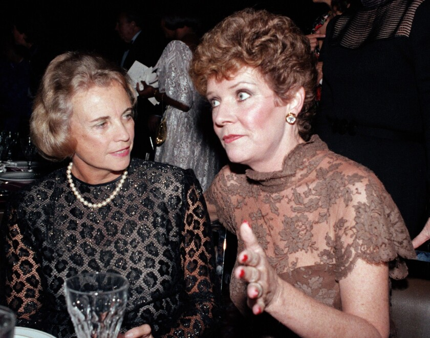 Polly Bergen, right, speaks with U.S. Supreme Court Justice Sandra Day O'Connor at a 1984 National Women's Forum dinner in Washington.