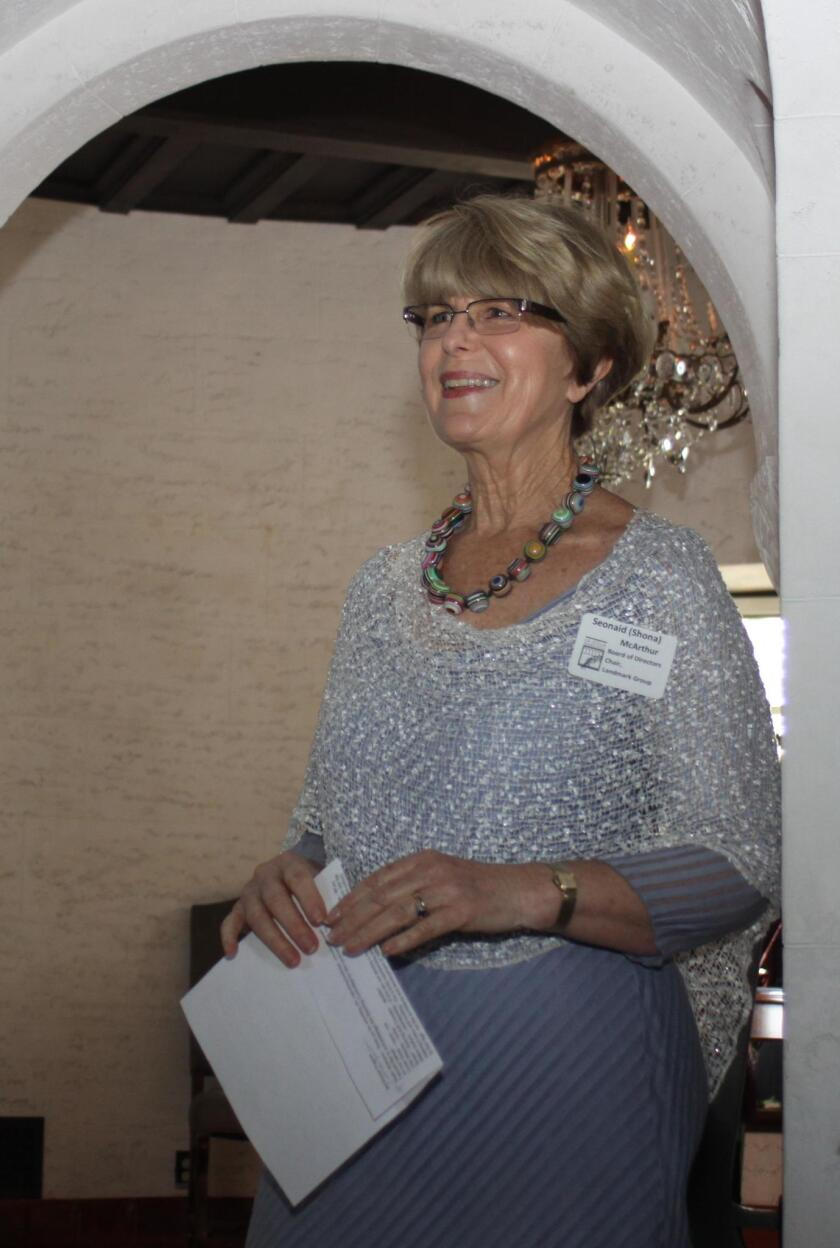 La Jolla Historical Society Landmarks Group chair Seonaid McArthur says a few words about preservation of historical places.
