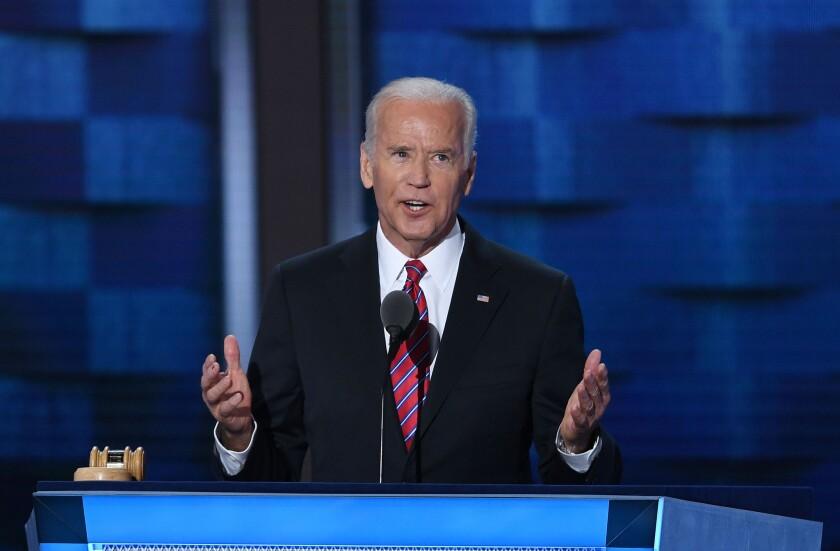 Vice President Joe Biden speaks at the Democratic National Convention in Philadelphia on July 27.