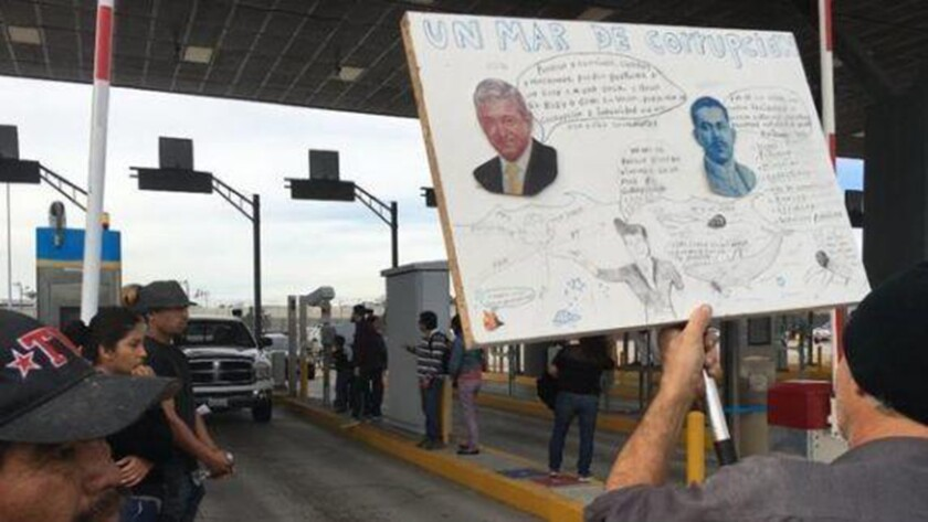 Two weeks ago, protesters temporarily closed a Mexican border crossing in San Ysidro over gas prices. A new protest occurred Sunday.