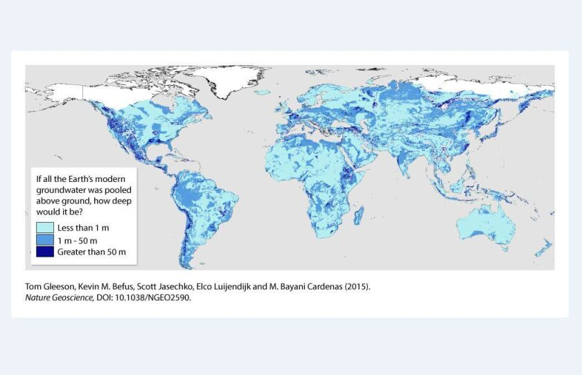 Map of global groundwater distribution