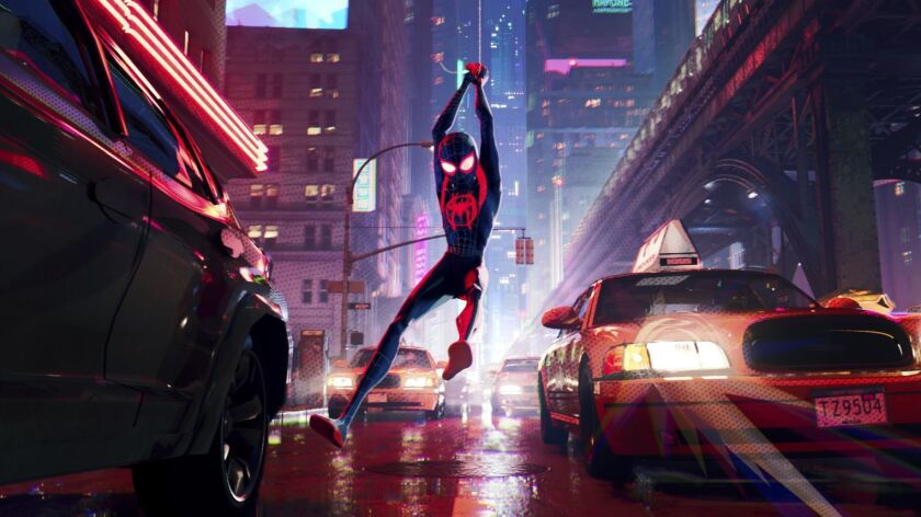 This image released by Sony Pictures Animation shows Miles Morales, voiced by Shameik Moore, in a sc