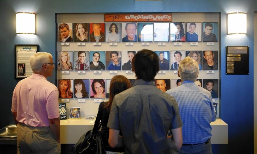 Groundlings audience members in the lobby.