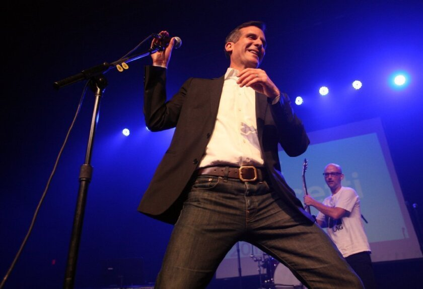 Eric Garcetti at the Fonda Theatre with Moby during a fundraising performance.