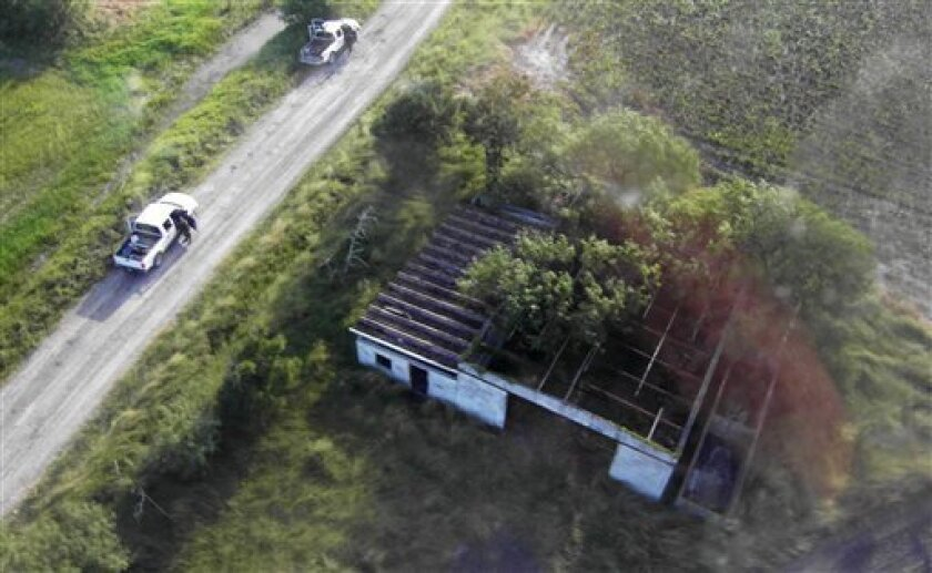 This image released by Mexico's Navy shows, shows the alleged site where 72 bodies, not seen, were found in San Fernando, eastern Mexico, Tuesday, Aug. 24, 2010. A Mexican drug cartel massacred 72 Central and South American migrants within 100 miles of the U.S. border that they were trying to reach, according to Lala Pomavilla who said to be a survivor who escaped and stumbled wounded to a highway checkpoint where he alerted marines. Lala Pomavilla told investigators that his captors identified themselves as members of the Zetas drug gang, said Vice Adm. Jose Luis Vergara, a spokesman for the Mexican Navy. (AP Photo/ Mexico's Secretary Navy)