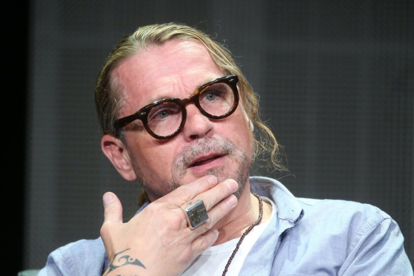 """Writer-director Kurt Sutter speaks onstage during """"The Bastard Executioner"""" panel discussion at the FX portion of the 2015 Summer TCA Tour."""