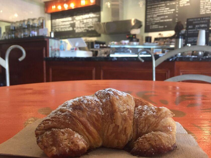 A fresh-baked blood orange croissant at Cafe de L'Opera in the Gaslamp Quarter.