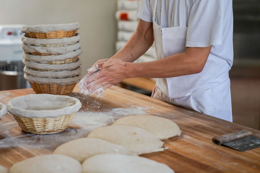 Jyan Isaac Horwitz at work in his Santa Monica bakery