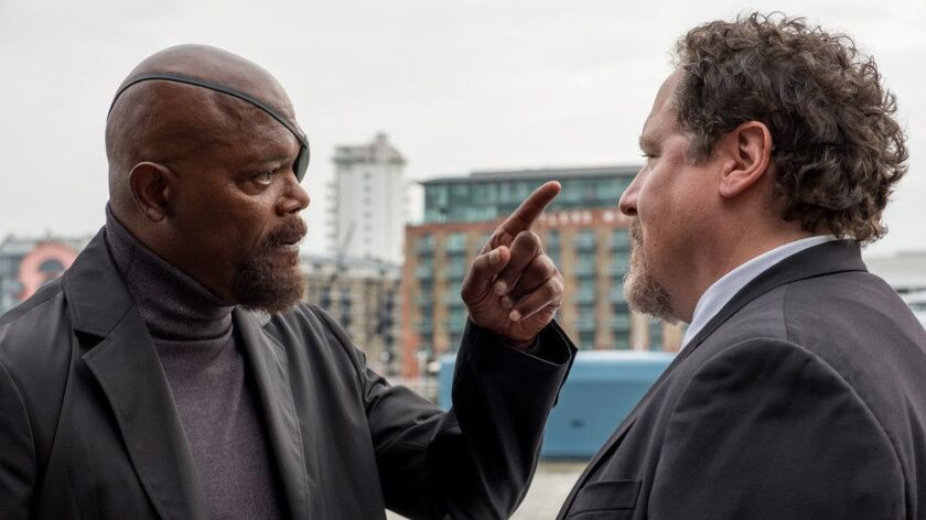 "Samuel L. Jackson and Jon Favreau in ""Spider-Man: Far From Home."""