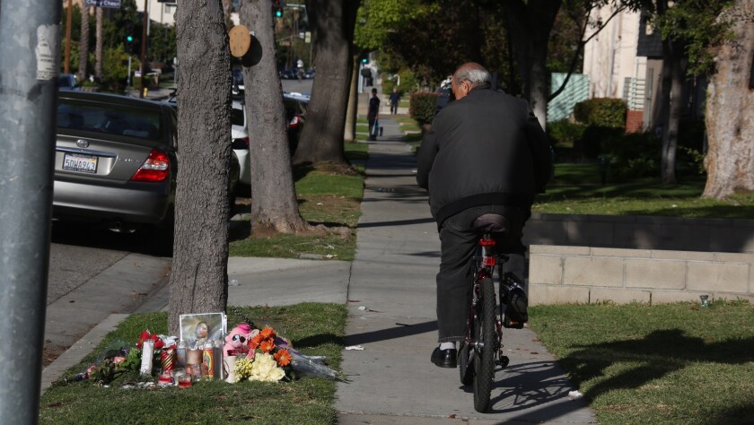 A memorial was set up Saturday morning on the Glendale street where a 4-year-old girl was killed by a hit-and-run driver.