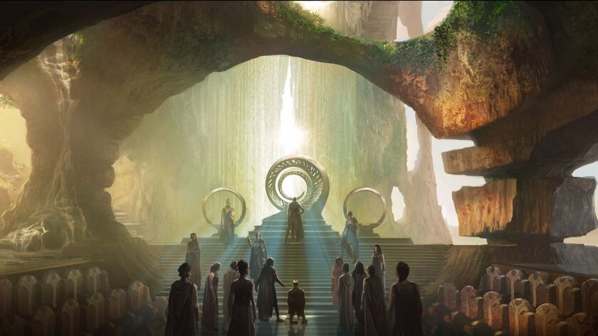 """The Throne Room in """"Wonder Woman's"""" Themyscira."""