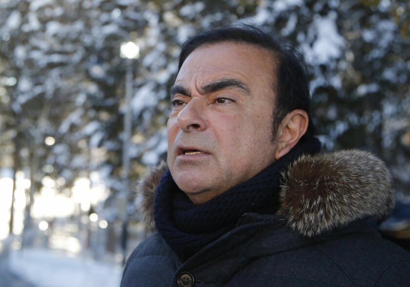 Chairman and CEO of Renault-Nissan Carlos Ghosn speaks during an interview with The Associated Press at the World Economic Forum in Davos, Switzerland, Thursday, Jan. 21, 2016. World leaders are holding a flurry of diplomatic meetings at the World Economic Forum and worried CEOs are debating about how to deal with this year's volatile markets and low oil prices. (AP Photo/Michel Euler)