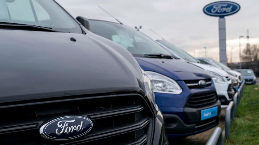 Vehicles at a Ford dealership close to the company's plant in Dagenham, East London.