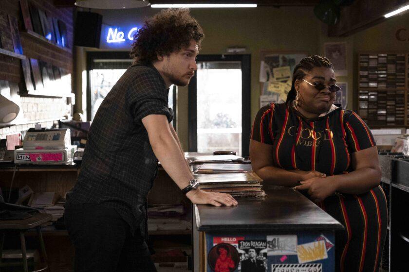 "Cherise (Da'Vine Joy Randolph) and Simon (David H. Holmes) in Hulu's ""High Fidelity."""