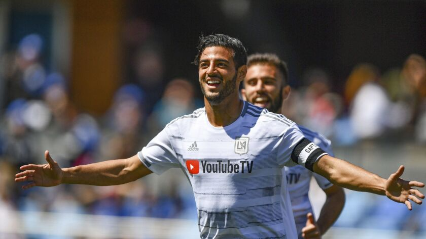 March 30, 2019: Los Angeles FC forward Carlos Vela (10) celebrates his goal during the MLS game betw