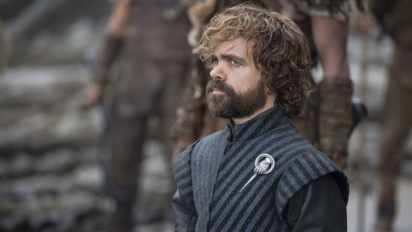 """This image released by HBO shows Peter Dinklage in a scene from """"Game of Thrones."""" Dinklage was nomi"""