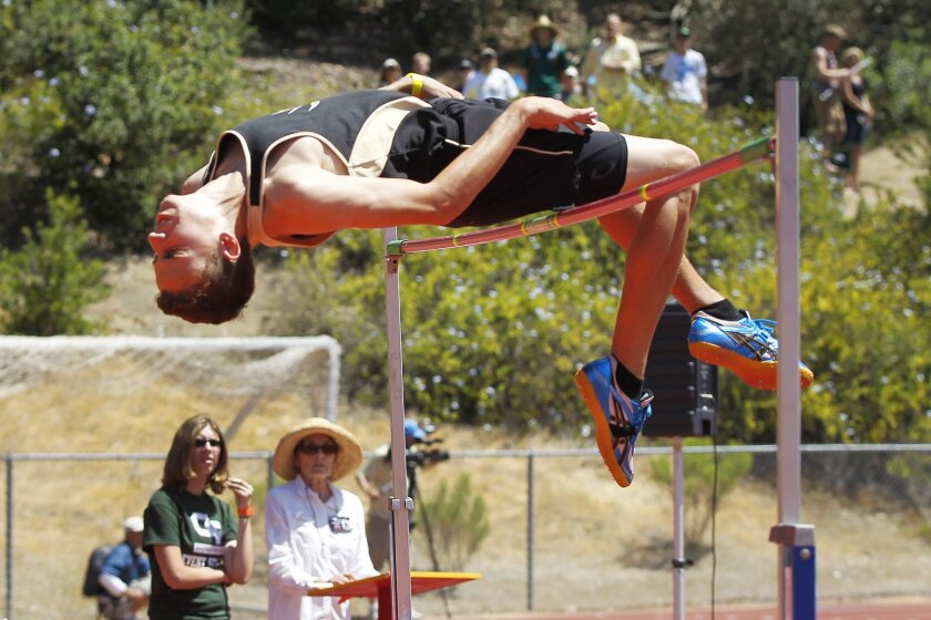 Westview high jumper Tyler Arroyo is tied for fourth in the state with a mark of 6-9.