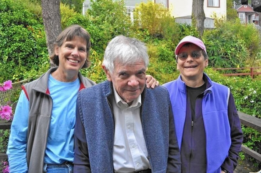 Bernard Mayes with Sandy Snyder, left, and Joyce Dudek in 2011. Mayes, an Anglican priest who left the ministry and later became an atheist, married the couple in San Francisco. He died Oct. 23 at age 85.
