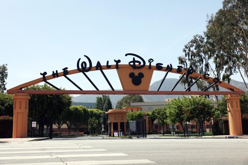 Walt Disney Co. entrance in Burbank.  (Dania Maxwell / Los Angeles Times)
