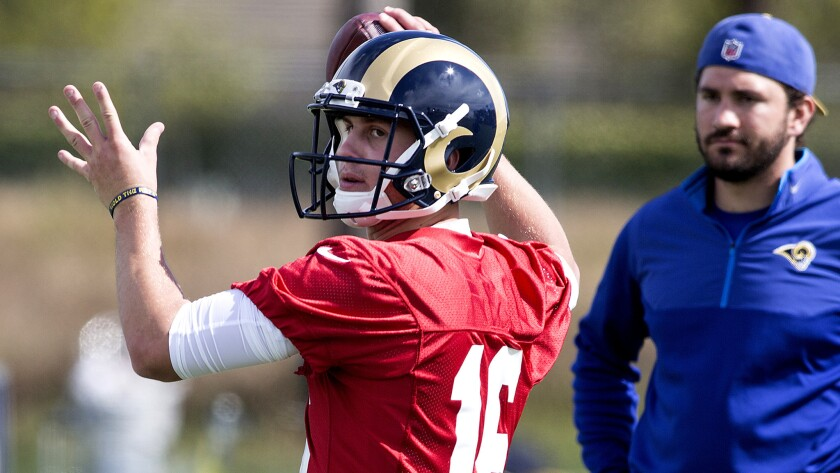 Quarterback Jared Goff participates in a passing drill during Rams camp.