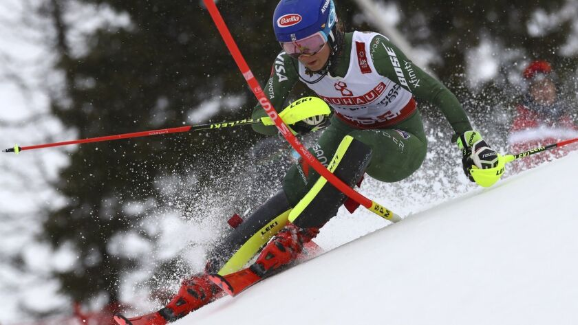 American skier Mikaela Shiffrin competes during the slalom race at the world championships on Feb. 16, 2019, in Are, Sweden.