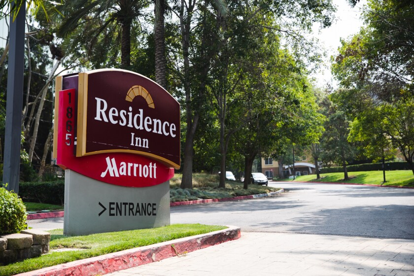 This shows the entrance to the Mission Valley Residence Inn.