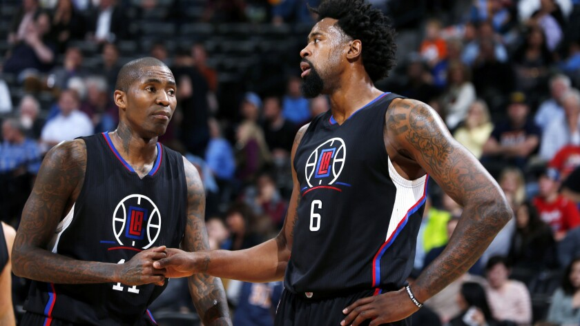 Clippers center DeAndre Jordan (6) and guard Jamal Crawford (11) during a game against the Nuggers on Tuesday.