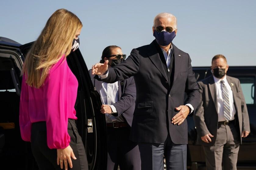 El candidato demócrata Joe Biden en New Castle, Delaware el 18 de octubre del 2020.