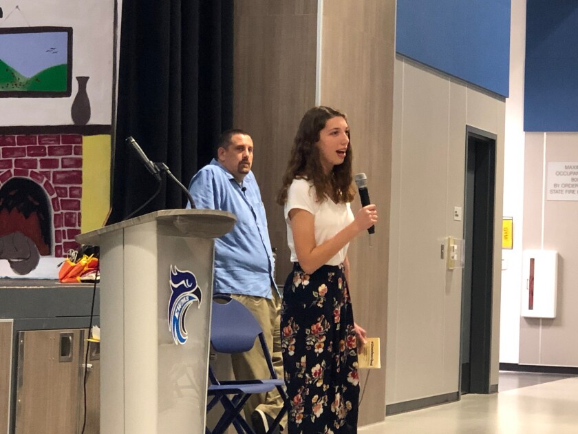 San Dieguito High School Academy junior Alexa Mendes, who wrote a book about her experience quitting and then successfully moderating her social media use, took part in a panel discussion at Earl Warren Middle School.