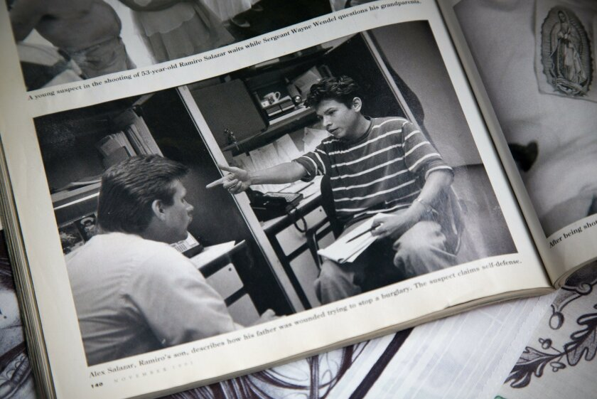 A photographer for Texas Monthly was chronicling Houston homicide detectives when Alexander Salazar's father was shot in 1991. A photo of him talking to the detective about the shooting appeared in the magazine.
