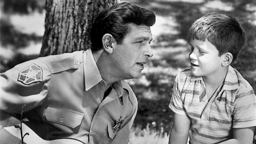 "Andy Griffith, left,  and Ron Howard in ""The Andy Griffith Show."""