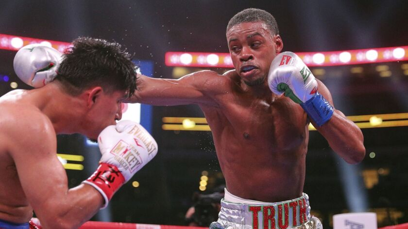 Mikey Garcia, left, fights Errol Spence Jr., right, in an IBF World Welterweight Championship boxing