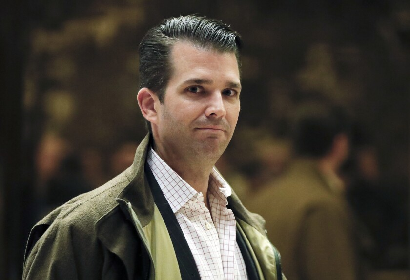 <p>In this Nov. 16, 2016 photo, Donald Trump Jr., son of President-elect Donald Trump, walks from th